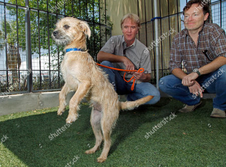 """Brandon Camp, Mark Forbes Brandon Camp, right, writer, producer and director of the upcoming feature film remake of """"Benji,"""" and animal trainer Mark Forbes, check out a 3-month-old fox terrier mix named Fairfield at the Best Friends Animal Society shelter in the Mission Hills area of Los Angeles. Camp, whose father created """"Benji"""" nearly 40 years ago, and veteran movie trainer Forbes have set out to find a new Benji in a nationwide search that includes online tools and sites that weren't around when the first four Benjis were discovered"""