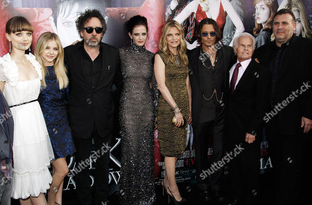 "Bella Heathcote, Chloe Grace Moretz, Tim Burton, Eva Green, Michelle Pfeiffer, Johnny Depp, Richard Zanuck, Graham King From left, Bella Heathcote, Chloe Grace Moretz, Tim Burton, Eva Green, Michelle Pfeiffer, Johnny Depp, Richard Zanuck, and Graham King pose together at the premiere of ""Dark Shadows"" in Los Angeles, . ""Dark Shadows"" opens in theaters May 11, 2012"