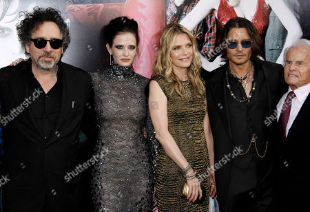 "Tim Burton, Eva Green, Michelle Pfeiffer, Johnny Depp, Richard Zanuck From left, Tim Burton, Eva Green, Michelle Pfeiffer, Johnny Depp, and Richard Zanuck pose together at the premiere of ""Dark Shadows"" in Los Angeles, . ""Dark Shadows"" opens in theaters May 11, 2012"