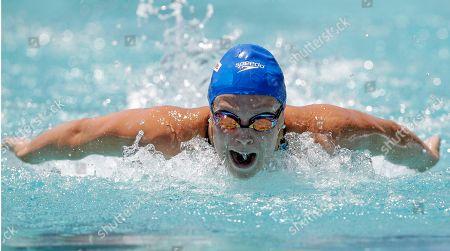 Ellen Gandy Ellen Gandy, of Great Britain, competes in a preliminary heat of the 100-meter butterfly at the Santa Clara International Grand Prix swim meet, in Santa Clara, Calif