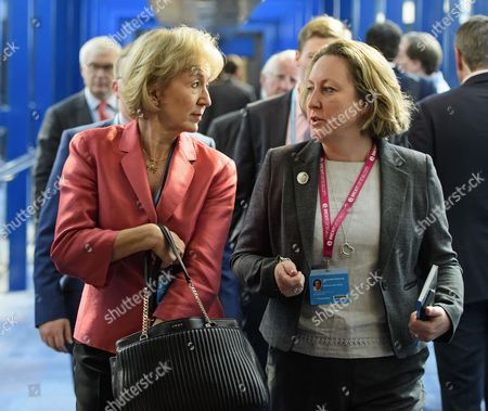 Stock Photo of Department for Business, Energy & Industrial Strategy Andrea Leadsom MP (Left) and Member of Parliament for Berwick upon Tweed Anne-Marie Trevelyan