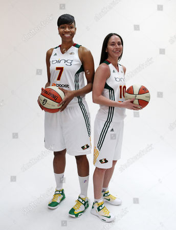 Tina Thompson, Sue Bird Seattle Storm's Tina Thompson, left, and Sue Bird pose while being photographed during a media day for the basketball team, in Seattle. The Storm opens their season Friday, May 18, against the Los Angeles Sparks