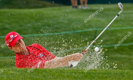 Hunter Haas Hunter Haas hits from a trap on the 18th green during the second round of the Wells Fargo Championship golf tournament at Quail Hollow Club in Charlotte, N.C