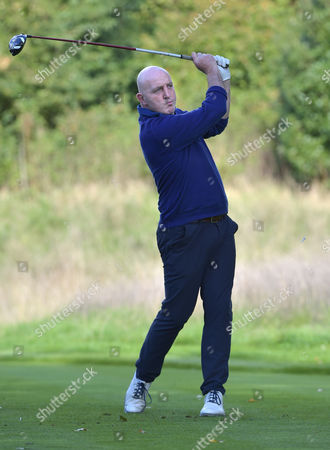 Keith Wood, former international rugby player playing on Pro-Am day of The British Masters Golf at The Grove, Hertfordshire, on Wednesday 12th October 2016.