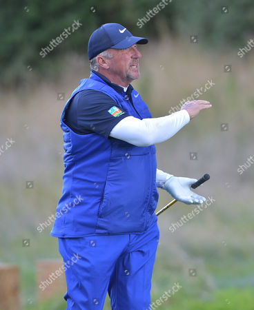 Sir Ian Botham, former international cricketer playing on Pro-Am day of The British Masters Golf at The Grove, Hertfordshire, on Wednesday 12th October 2016.