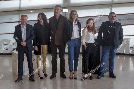 Arnaud des Pallieres, Adele Haenel, Solene Rigot, Sergi Lopez, Michel Klein and Melissa Petijean poses