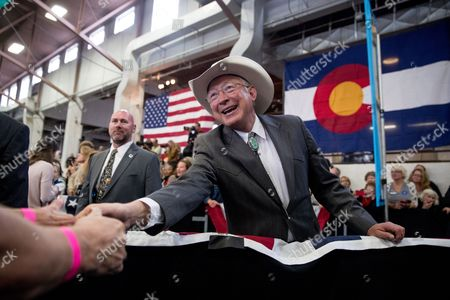 Ken Salazar Former Senator and Secretary of the Interior Ken Salazar, D-Colo., greets members of the audience during a rally for Democratic presidential candidate Hillary Clinton at the Colorado State Fairgrounds in Pueblo, Colo