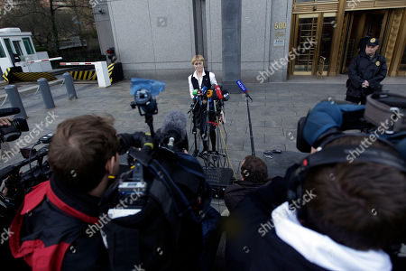 Stock Photo of Alla Bout Alla Bout speaks to reporters outside Federal court in Manhattan after the sentencing hearing of her husband Viktor Bout, in New York. Viktor Bout, dubbed the Merchant of Death was sentenced Thursday to 25 years in prison, far short of the life term prosecutors sought for his conviction on terrorism charges that grew from a U.S. sting operation
