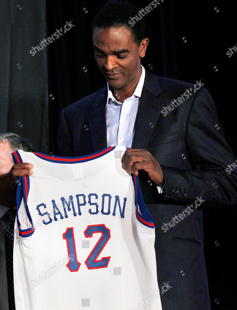 Ralph Sampson Three-time College Player of the Year Ralph Sampson holds a jersey as he is introduced asa Naismith Memorial Basketball Hall of Fame inductee at a news conference in New Orleans