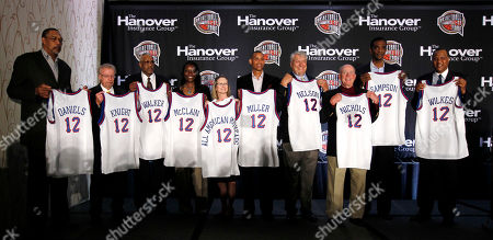 Stock Picture of Mel Daniels, Phil Knight, Chet Walker, Katrina McClain, Tammy Harrison, Reggie Miller, Don Nelson, Hank Nicholls, Ralph Sampson, Jamaal Wilkes The 2012 inductees of the Naismith Memorial Basketball Hall of Fame pose for a photo at a news conference in New Orleans, . Left to right are Mel Daniels, Phil Knight, Chet Walker, Katrina McClain, Tammy Harrison, Reggie Miller, Don Nelson, Hank Nicholls, Ralph Sampson, and Jamaal Wilkes