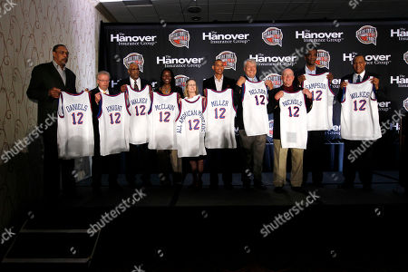 Stock Image of Mel Daniels, Phil Knight, Chet Walker, Katrina McClain, Tammy Harrison, Reggie Miller, Don Nelson, Hank Nicholls, Ralph Sampson, Jamaal Wilkes The 2012 inductees of the Naismith Memorial Basketball Hall of Fame pose for a photo at a news conference in New Orleans, . Left to right are Mel Daniels, Phil Knight, Chet Walker, Katrina McClain, Tammy Harrison, Reggie Miller, Don Nelson, Hank Nicholls, Ralph Sampson, and Jamaal Wilkes