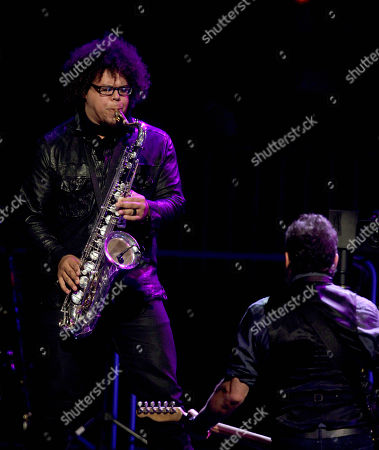 "Stock Image of Bruce Springsteen, Jake Clemons Jake Clemons, left, nephew of the late saxophonist and E Street Band member Clarence Clemons, performs with Bruce Springsteen, right, and the E Street Band during Springsteen's ""Wrecking Ball"" concert tour premiere, in Atlanta"