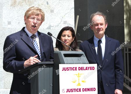 Theodore Olson, Tani Cantil-Sakauye, David Boies Attorney Theodore Olson, left, flanked by with California Supreme Court Chief Justice Tani Cantil-Sakauye, center, and Attorney David Boies, warned that state budget cuts to the court system is making justice inaccessible for average people, during a news conference at the Capitol, in Sacramento, Calif., . Olson and Boies are co-chairing an American Bar Association task force looking into the effect of court cutbacks nationwide