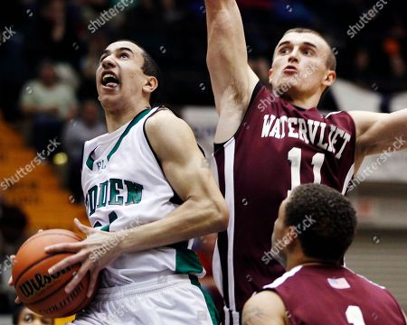 Nick Walker, Griffin Kelly Bishop Ludden's Nick Walker takes a shot in front of Watervliet's Griffin Kelly (11) during a New York State Public High School Athletic Association boys' Class B championship basketball game in Glens Falls, N.Y., on