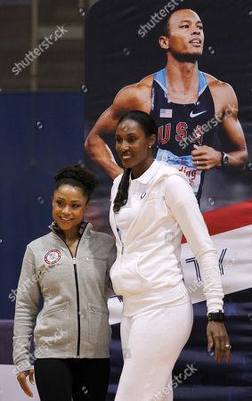 Dominique Dawes, Lisa Leslie Gymnast and Olympic gold medal winner Dominique Dawes, left, with WNBA MVP and a four-time Olympic gold medal winner Lisa Leslie, in Washington