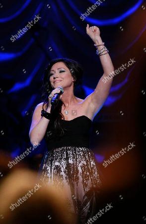 Gospel singer Kari Jobe performs during taping of the Gospel Music Association Dove Awards at Atlanta's Fox Theater