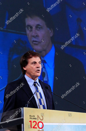 Tony La Russa Former baseball manager and player Tony La Russa speaks as he honored at the Ellis Island Family Heritage Awards on Ellis Island on . La Russa, actress Angela Lansbury and architect Richard Meier were honored for contributions they have made to a nation of immigrants