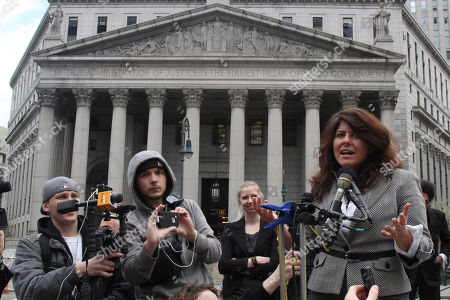 """Naomi Wolf Author and political consultant Naomi Wolf speaks to reporters during a news conference, in New York. Federal Judge Katherine Forrest says she is """"extremely skeptical"""" that a lawsuit can succeed in striking down a law giving the government wide powers to regulate the detention, interrogation and prosecution of suspected terrorists"""
