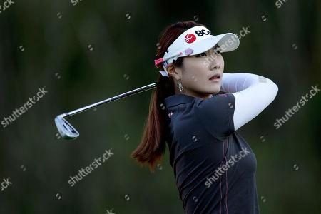 Ha-Neul Kim Ha-Neul Kim of South Korea hits her tee shot on the 14th hole during the first round of the Kia Classic LPGA golf tournament, in Carlsbad, Calif