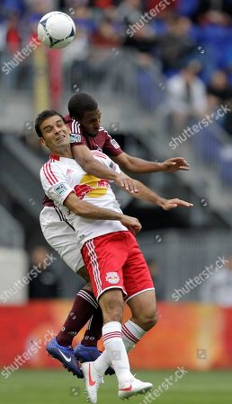 Rafa Marquez, Ross LaBauex New York Red Bulls' Rafa Marquez, left, and Colorado Rapids midfielder Ross LaBauex go up for the ball in the second half of an MLS soccer game, in Harrison, N.J. The Red Bulls won 4-1