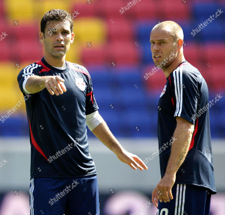 Rafa Marquez, Joel Linpere New York Red Bulls' Rafa Marquez, left, of Mexico, talks to teammate Joel Linpere during a workout at the team's MLS soccer media day, in Harrison, N.J