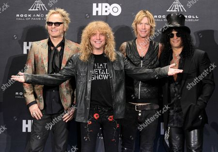 Matt Sorum, Steven Adler, Duff McKagan, Slash Guns N' Roses, from left: Matt Sorum, Steven Adler, Duff McKagan and Slash appear in the press room after induction into the Rock and Roll Hall of Fame, in Cleveland