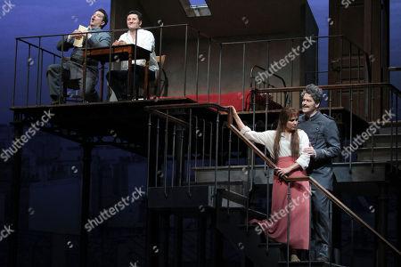 "Anna Netrebko, Piotr Beczala, Paulo Szot, Bradley Garvin Paulo Szot, left, performs as Lescaut alongside Piotr Beczala, second from left, performing as Chevalier des Grieux, with Anna Netrebko performing the title roll with Bradley Garvin, right as De Bretigny during the final dress rehearsal of Jules Massenet's ""Manon,"" at the Metropolitan Opera in New York"
