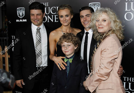 """Jay R. Ferguson, Taylor Schilling, Riley Thomas Stewart, Zac Efron, Blythe Danner From left, cast members Jay R. Ferguson, Taylor Schilling, Riley Thomas Stewart, Zac Efron, and Blythe Danner at the premiere of """"The Lucky One"""" in Los Angeles, . """"The Lucky One"""" will be released in theaters April 20, 2012"""