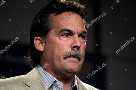 Stock Image of Jeff Fisher St. Louis Rams coach Jeff Fisher discuss the indefinite suspension of Rams defensive coordinator Gregg Williams, at the Rams' training facility in St. Louis. Williams was banned indefinitely on Wednesday because the New Orleans Saints defensive players were paid bounties for big hits on opponents from 2009-11 when Williams was with the team