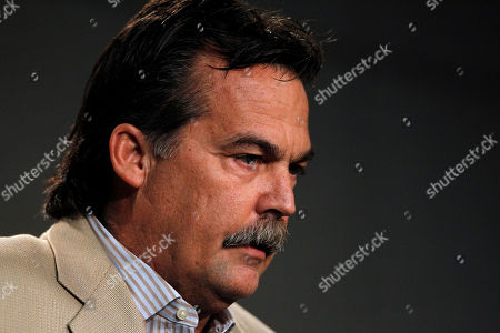 Stock Photo of Jeff Fisher St. Louis Rams coach Jeff Fisher discuss the indefinite suspension of Rams defensive coordinator Gregg Williams, at the Rams' training facility in St. Louis. Williams was banned indefinitely on Wednesday because the New Orleans Saints defensive players were paid bounties for big hits on opponents from 2009-11 when Williams was with the team