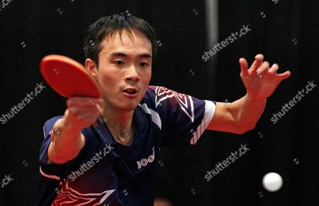 Stock Image of Timothy Wang United States' Timothy Wang returns a shot against compatriot Adam Hugh during a men's semifinal match of the North America 2012 Olympic Games table tennis qualifying tournament in Cary, N.C., . Wang won to advance to the final