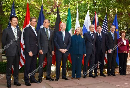 Koichiro Gemba, Guido Westerwelle, Sergei Lavrov, William Hague, Hillary Rodham Clinton, Alain Juppe, John Baird, Giulio Terzi di Sant' Agata, Catherine Ashton Secretary of State Hillary Rodham Clinton hosts a gathering of the G8 foreign ministers at Blair House in Washington, . From left are: Japanese Foreign Minister Koichiro Gemba, German Foreign Minister Guido Westerwelle, Russian Foreign Minister Sergei Lavrov, British Foreign Secretary William Hague, U.S. Secretary of State Hillary Rodham Clinton, French Foreign Minister Alain Juppe, Canadian Foreign Minister John Baird, Italy's Foreign Minister Giulio Terzi di Sant' Agata, and European Union Foreign Minister Catherine Ashton