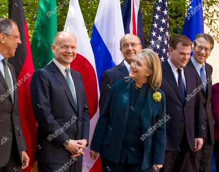 Sergei Lavrov, William Hague, Hillary Rodham Clinton, Alain Juppe, John Baird, Giulio Terzi di Sant' Agata Secretary of State Hillary Rodham Clinton welcomes several of the G8 foreign ministers at Blair House in Washington, . From left to right are Russian Foreign Minister Sergei Lavrov, British Foreign Secretary William Hague, Clinton, French Foreign Minister Alain Juppe, Canadian Foreign Minister John Baird, and Italy's Foreign Minister Giulio Terzi di Sant' Agata
