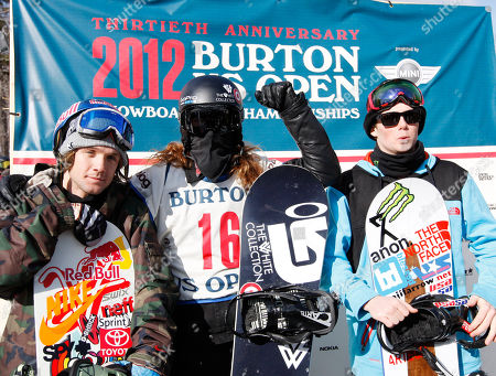 Shaun White, Louie Vito, Benji Farrow Men's halfpipe winner Shaun White, center, poses with Louie Vito, right, second place, and third-place winner Benji Farrow at the U.S. Open Snowboarding Championships in Stratton, Vt., on