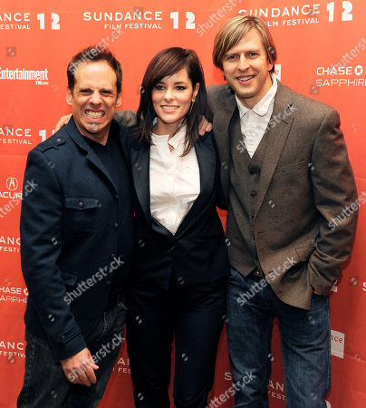 """Parker Posey, Josh Pais, Jayce Bartok Josh Pais, left, Parker Posey, center, and Jayce Bartok, cast members in """"Price Check,"""" pose together at the premiere of the film at the 2012 Sundance Film Festival in Park City, Utah"""