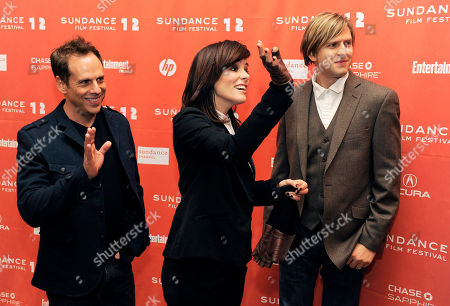 """Parker Posey, Josh Pais, Jayce Bartok Josh Pais, left, Parker Posey, center, and Jayce Bartok, cast members in """"Price Check,"""" react as fellow cast members arrive at the premiere of the film at the 2012 Sundance Film Festival in Park City, Utah"""