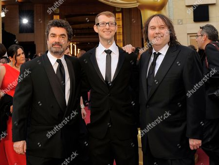 Stock Photo of Joe Berlinger, Jason Baldwin, Bruce Sinofsky From left, Joe Berlinger, Jason Baldwin and Bruce Sinofsky arrive before the 84th Academy Awards, in the Hollywood section of Los Angeles
