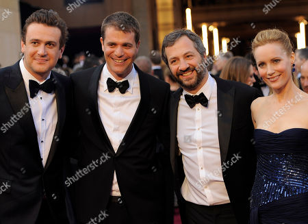 Jason Segel, Judd Apatow, Leslie Mann Jason Segal, left, Judd Apatow, third from left, and Leslie Mann, right, arrive before the 84th Academy Awards, in the Hollywood section of Los Angeles