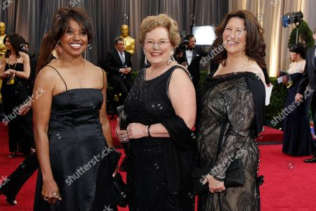 Robin Fryday, Shirley Floyd, Abby Ginzberg From left, Robin Fryday, Shirley Floyd and Abby Ginzberg arrive before the 84th Academy Awards, in the Hollywood section of Los Angeles