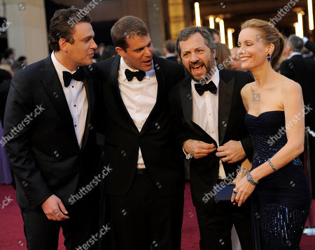 Jason Segal, Judd Apatow, Leslie Mann Jason Segal, left, Judd Apatow, third from left, and Leslie Mann, right, arrive before the 84th Academy Awards, in the Hollywood section of Los Angeles