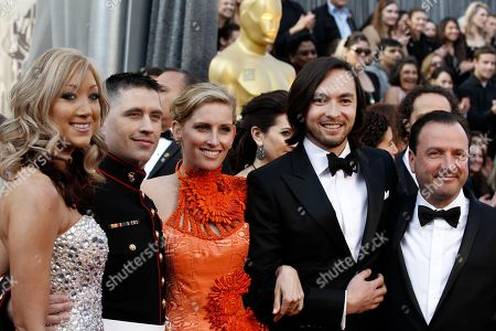 Casey Brown, Danfung Dennis, Ashley Harris, Nathan Harris, Mike Lerner From left, Casey Brown, director Danfung Dennis, Ashley Harris, Sgt. Nathan Harris, and producer Mike Lerner arrive before the 84th Academy Awards, in the Hollywood section of Los Angeles