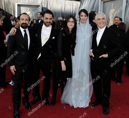 Stock Photo of Asghar Farhadi, Peyman Moadi, Sarina Farhadi, Leila Hatami, Mahmoud Kalari From left, Asghar Farhadi, Peyman Moadi, Sarina Farhadi, Leila Hatami and Mahmoud Kalari arrive before the 84th Academy Awards, in the Hollywood section of Los Angeles