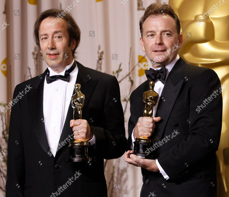 "Philip Stockton, Eugene Gearty Philip Stockton, left, and Eugene Gearty pose with their awards for best achievement in sound editing for "" Hugo"" during the 84th Academy Awards, in the Hollywood section of Los Angeles"