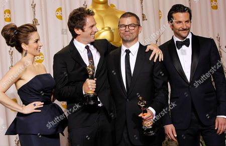 Kirk Baxter, Angus Wall, Tina Fey, Bradley Cooper Kirk Baxter, second from left, and Angus Wall, second from right, pose with presenters Tina Fey, left, and Bradley Cooper, and their awards for best achievement in film editing during the 84th Academy Awards, in the Hollywood section of Los Angeles