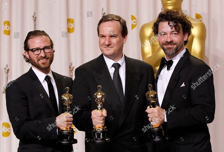 "Rob Legato, Ben Grossman and Alex Henning pose with their Oscars for visual effects for their work in ""Hugo"" during the 84th Academy Awards, in the Hollywood section of Los Angeles"