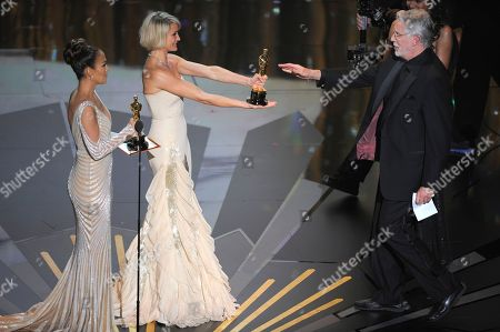 """Jennifer Lopez, Cameron Diaz, J. Roy Helland From left, presenters Jennifer Lopez and Cameron Diaz present to one of the winners of the Oscar for best make up for """"The Iron Lady"""" J. Roy Helland, during the 84th Academy Awards, in the Hollywood section of Los Angeles"""
