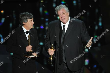 """Tom Fleischman, John Midgley Tom Fleischman, right, and John Midgley accept the Oscar for best sound mixing for """"Hugo"""" during the 84th Academy Awards, in the Hollywood section of Los Angeles"""
