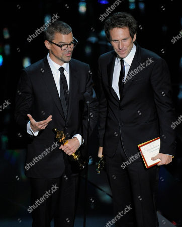 "Angus Wall, Kirk Baxter Angus Wall, left, and Kirk Baxter accept the Oscar for best film editing for ""The Girl with the Dragon Tattoo"" during the 84th Academy Awards, in the Hollywood section of Los Angeles"