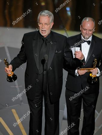 """J. Roy Helland, Mark Coulier Winners of the Oscar for best make up for """"The Iron Lady"""" J. Roy Helland, left, and Mark Coulier, during the 84th Academy Awards, in the Hollywood section of Los Angeles"""