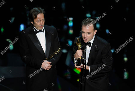 "Philip Stockton, Eugene Gearty Philip Stockton, left, and Eugene Gearty accept the Oscar for best sound editing for ""Hugo"" during the 84th Academy Awards, in the Hollywood section of Los Angeles"